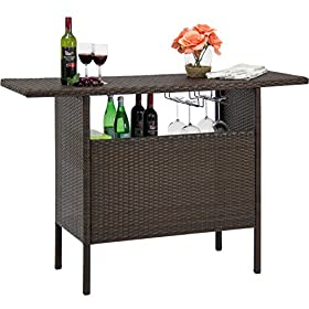 Best Choice Products Outdoor Patio Wicker Bar Counter Table w/ 2 Steel Shelves, 2 Sets of Rails – Brown