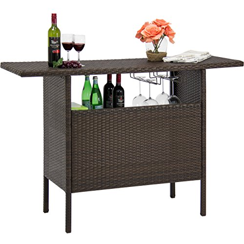 Best Choice Products Outdoor Patio Wicker Bar Counter Table, Garden & Backyard Furniture w/ 2 Steel Shelves, 2 Sets of Rails