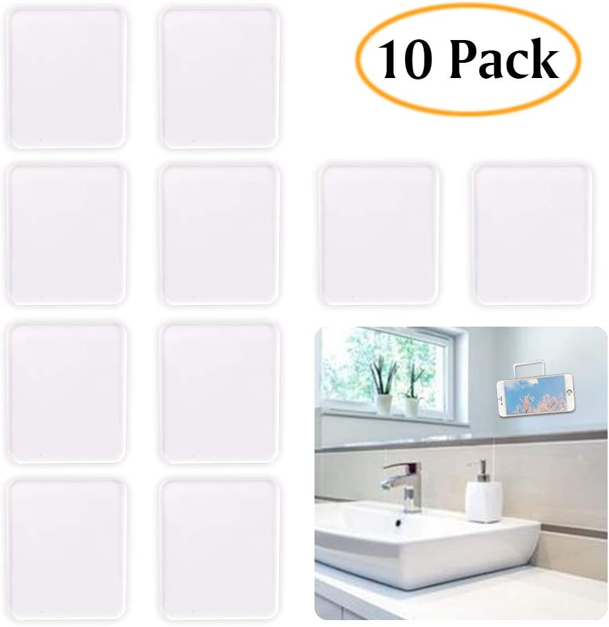 ZC GEL Universal Sticky Pads (10 Pack), Removable and Reusable Non Slip Mat Cell Phone Holder for Car Dashboard Office House Glass Mirrors Anywhere, Clear Anti Slip Pads