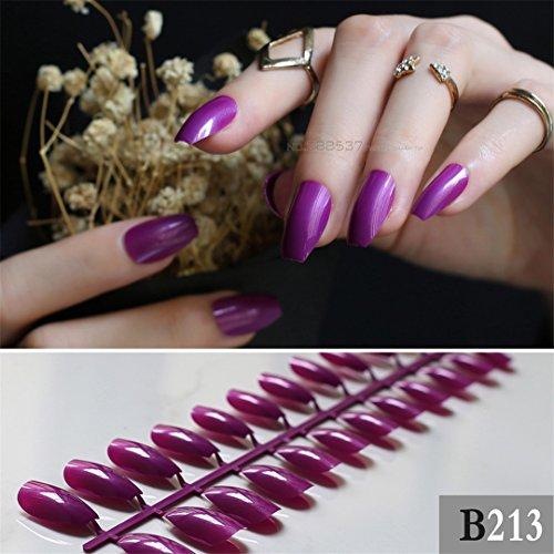 Coffin False Nails Dark Purple Ballerinas Nail Glitter Fake Nail Powder Designs 24Pcs Full Set Medium Long Press On Nails -