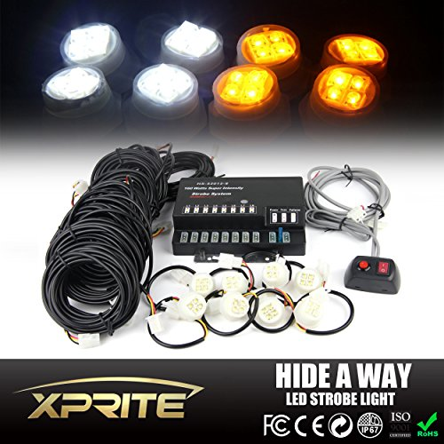 Xprite 160W 8 LED Bulbs Hide-A-Way Emergency Hazard Warning Strobe Lights - White & Yellow/Amber