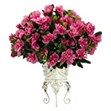 Nearly Natural 6687 Azalea with Metal Planter Decorative Silk Plant, Pink