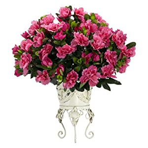 Nearly Natural 6687 Azalea with Metal Planter Decorative Silk Plant, Pink 3