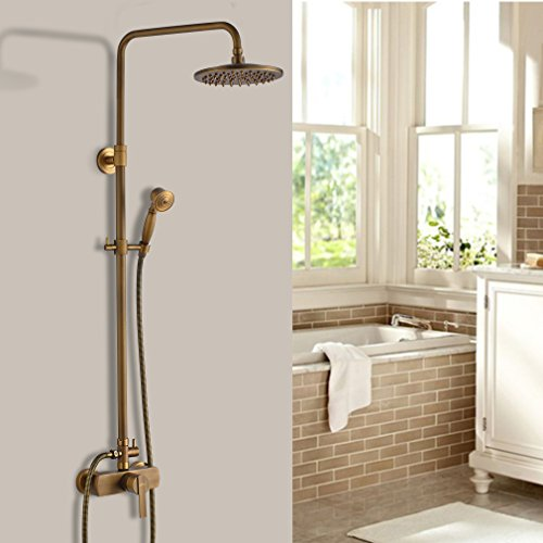 Auralum Luxury Rainfall Shower System Bathroom Shower Combo Set Wall Mounted with 8 Inch Square Shower Head,Hand Sprayer,Adjustable Shower Bar,Hose Antique Brass Finish (Shower Bar Valve Thermostatic)