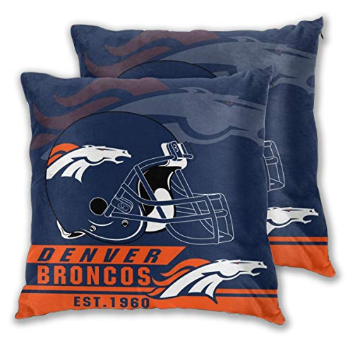 (Marrytiny Custom Colorful Set of 2 Pillowcase Denver Broncos American Football Team Bedding Pillow Covers Pillow Cases for Sofa Bedroom Home Decorative - 18x18 Inches)
