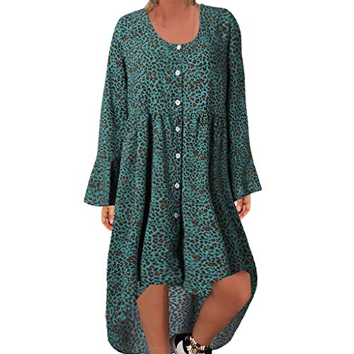 kemilove 2019 Women's Summer Casual Dress,Sexy Leopard Print O-Neck Full Sleeve Easy Code Button Loose Long Dresses Green]()