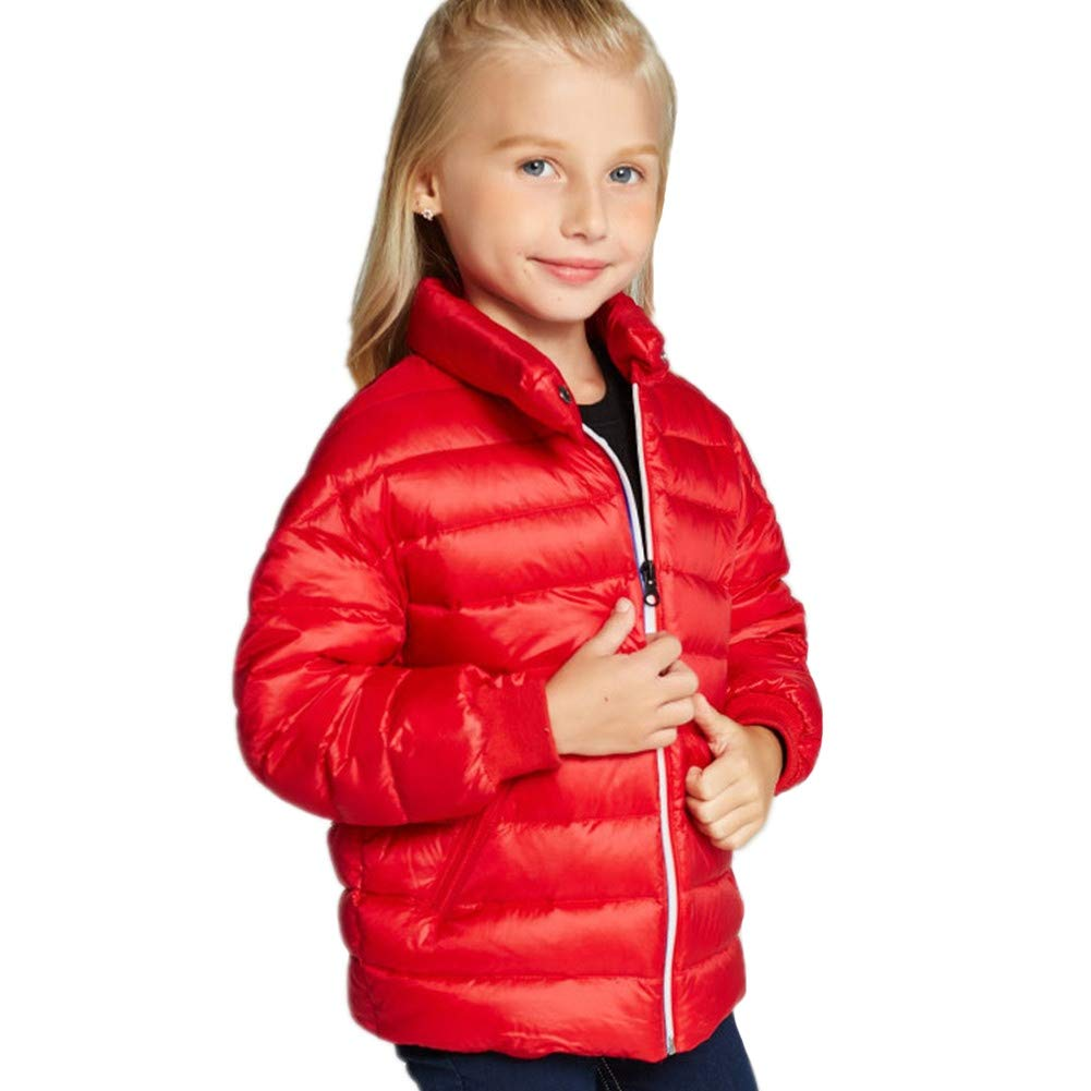 rouge 160cm RSTJ-Sjc Manteau en Duvet d'hiver léger pour Filles en Duvet d'oie, Duvet de Canard, vêteHommests d'hiver Parfaits pour Enfants