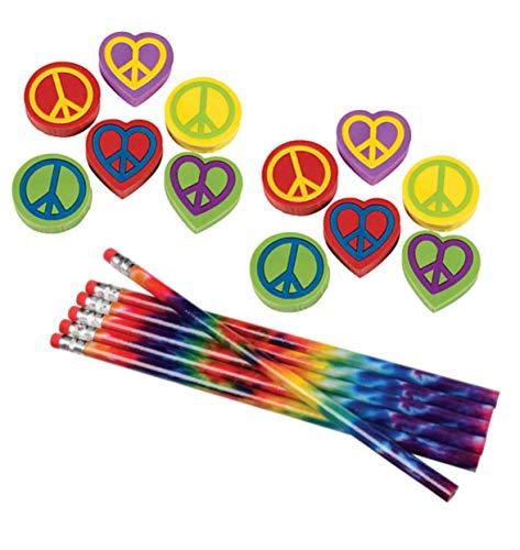 Nikki's Knick Knacks 48 Piece Tie Dye Hippie Pencils and Peace Sign ()