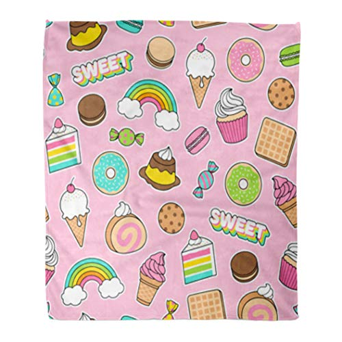 Golee Throw Blanket Cupcake Cute Dessert Pink Food Chocolate Pattern Birthday Kids Candy 50x60 Inches Warm Fuzzy Soft Blanket for Bed Sofa ()