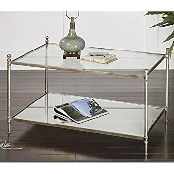 Uttermost 24281 Gannon Mirrored Glass Coffee Table, Antiqued Silver
