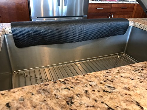 Kitchen sink guard/Kitchen granite protector/Sink edge guard/copyright 2017/TM/Patent pending (12 in. width X 27 in length, black) by Comfy Kitchen Creations