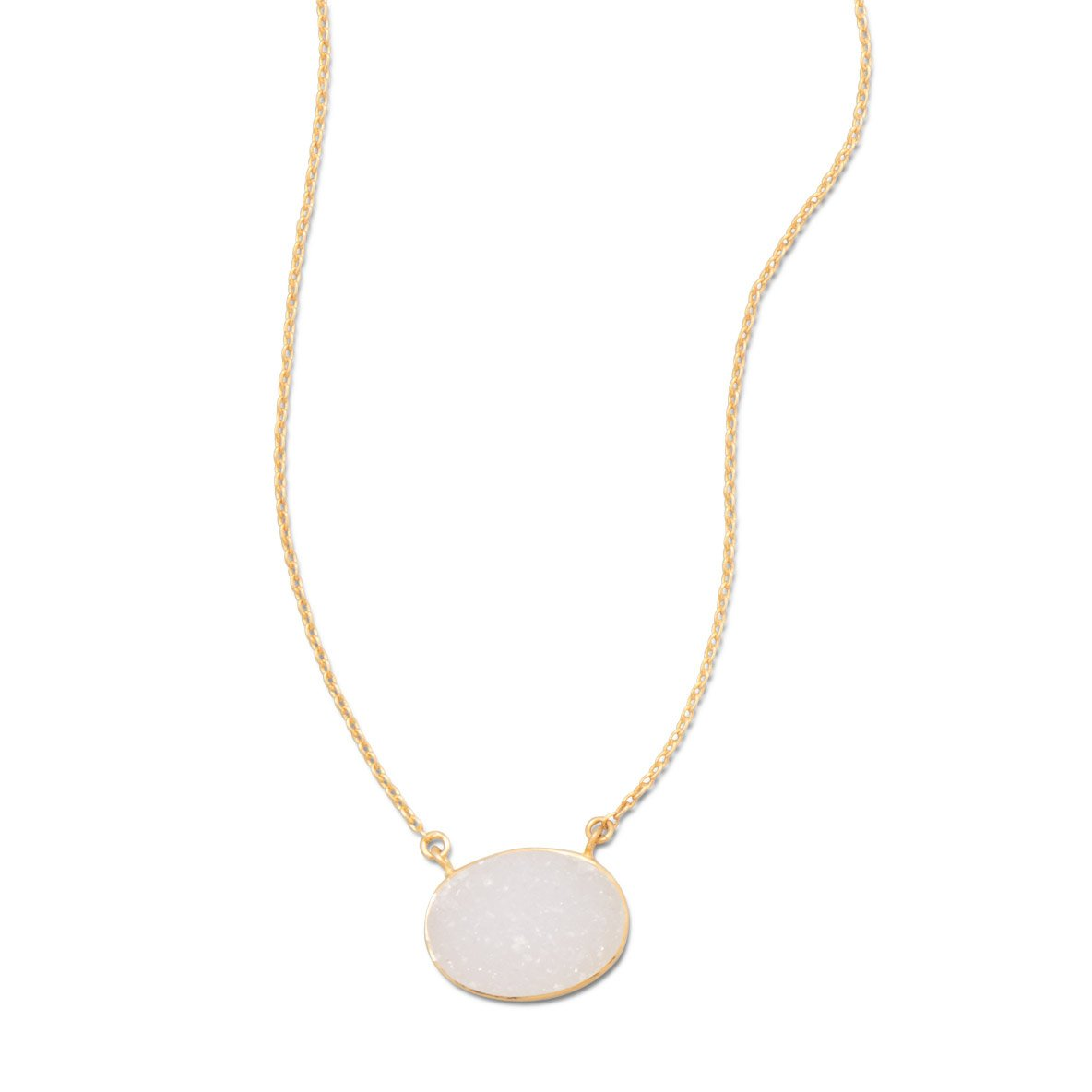 2 Inch Extention Matte Finish Gld-Flashed St 16 Inch Silver Necklace 13mm X 18mm Oval White Druzy