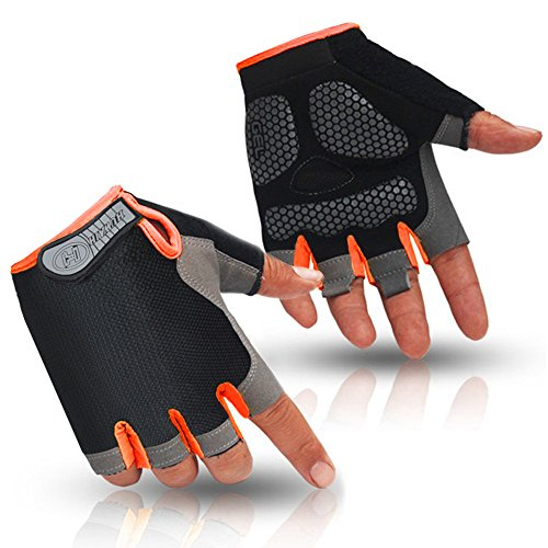HuwaiH Cycling Gloves Men's/Women's Mountain Bike Gloves Half Finger Biking Gloves | Anti-Slip Shock-Absorbing Gel Pad Breathable Cycle Gloves (Black Orange, Small) Black Professional Bike Glove