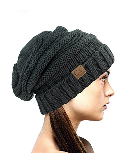 NYFASHION101 Oversized Baggy Slouchy Thick Winter Beanie Hat, Melange Gray