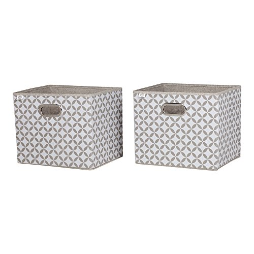 South Shore Storit Fabric Storage Baskets with Pattern (2 Pack), Taupe and White by South Shore (Image #4)