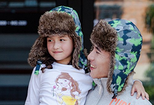 Padres Al Aire Sombrero Snfgoij Protección Gorro Esquí Caliente Invierno Y Ruso De Auditiva Libre Latticecamouflagefluorescentgreen Niños 0C74qO1C