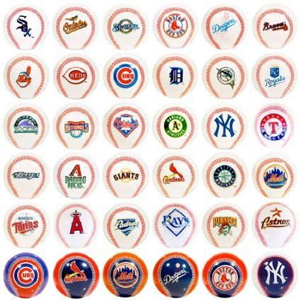 Major League Baseball Mini Baseballs Set of 30 Teams with 6 additional Special Edition Balls by MLB