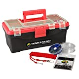 Wakeman Fishing Single Tray Tackle Box- 55 Piece Tackle Gear Kit Includes Sinkers, Hooks Lures Bobbers Swivels and Fishing Line Outdoors Red