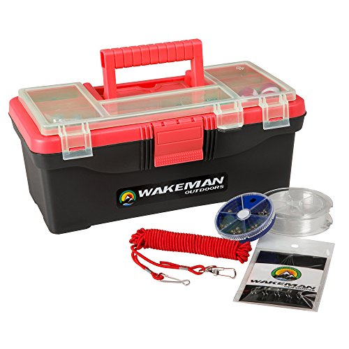 Wakeman Fishing Single Tray Tackle Box- 55 Piece Tackle Gear Kit Includes Sinkers, Hooks Lures Bobbers Swivels and Fishing Line Outdoors Red ()