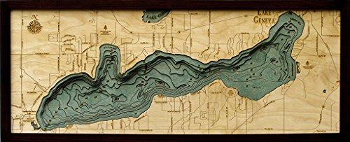 Lake Geneva, Wisconsin 3-D Nautical Wood Chart, 13.5
