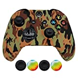 Cheap Hikfly Silicone Gel Controller Cover Skin Protector Kits for Xbox One Controller Video Games(1 x Controller Camouflage cover with 4 x Thumb Grip Caps)(Brown)
