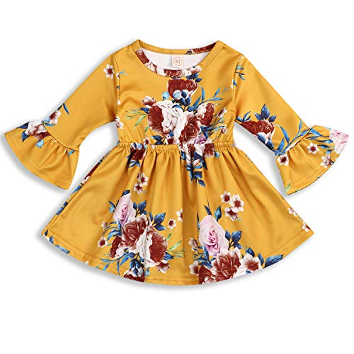 Toddler Infant Baby Girl Dress Floral Ruffle Flare 3/4 Sleeve Yellow Skirt Fall Clothes Set (12-24 Months, Yellow)