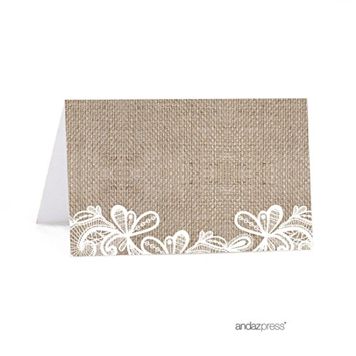 Andaz Press Burlap Lace Wedding Collection, Printable Table Tent Place Cards, 20-Pack]()