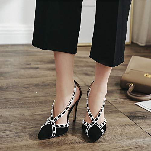 Mode Talons Soirée Hauts À Bout Noir Sandales Cloutés Toit Femmes Sangle À Court Makafj Pointes La Robe De Chaussures Avec De 1TxwtnqX