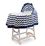aBaby Chevron Short Bassinet Skirt, Navy, Large