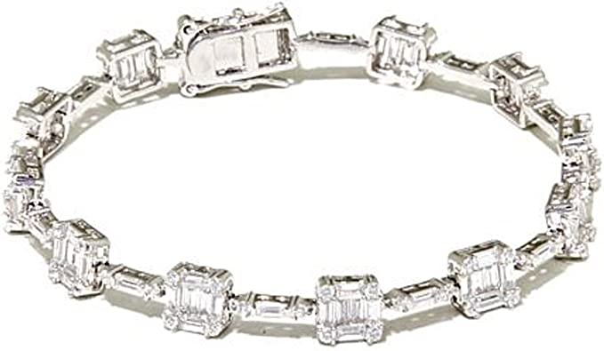 Triostar 925 Sterling Silver Simulated Diamond White Gold Over Floral Cross Link Bracelet