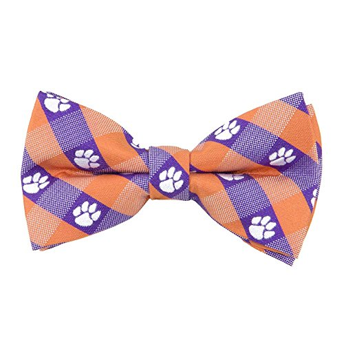 Clemson Tigers Checked Logo Bow Tie - NCAA College Team Logo