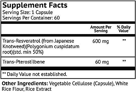 Amazon.com: Resveratrol con Pterostilbene 600 mg/60 mg - Sin ...