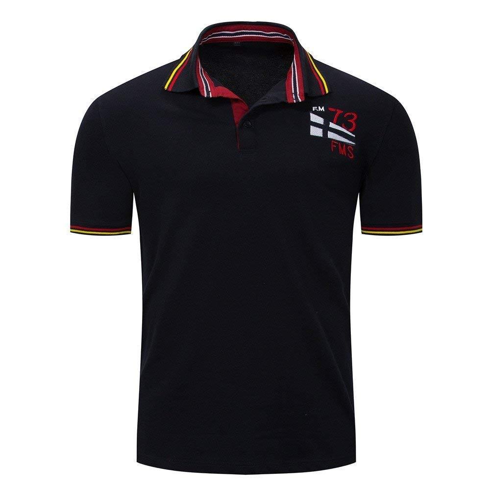 Littleice Men T-Shirt,Hot Sale 2018 Men's Block Casual Button Pocket O Neck Pullover Short Sleeve T-Shirt Tops (Blue, M)