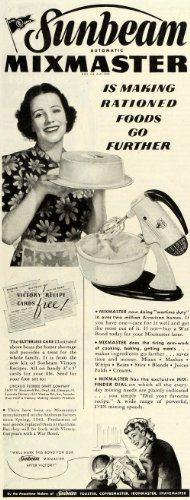 1943 Ad Sunbeam Mixmaster Baking Mixer WWII Household Appliances Housewife Cake - Original Print Ad from PeriodPaper LLC-Collectible Original Print Archive
