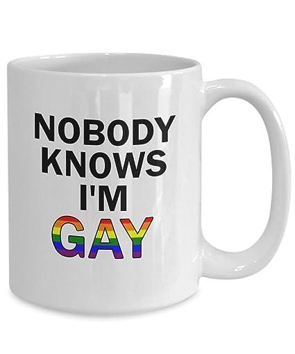 f400c093 Amazon.com: Gay Mug Nobody Knows Im Gay Funny Coffee Mug Great Gay Pride  Rainbow Gift For Lesbian Gift For Lgbt Funny Gay Gift For Birthday  Christmas: ...