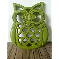 Olive green Heavy Duty Cast Iron Owl Kitchen Trivet - Rustic Woodland Animal Decor - Unique Housewarming Gift