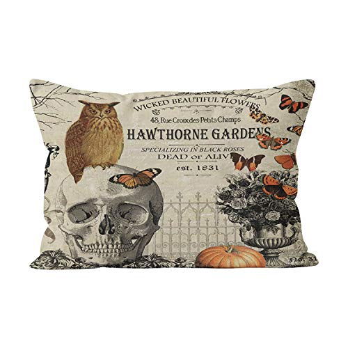 Suklly Modern Vintage Halloween Owl and Skull Funny Hidden Zipper Home Decorative Rectangle Throw Pillow Cover Cushion Case 20x30 Inch Queen One Side Design Printed Pillowcase for $<!--$10.37-->