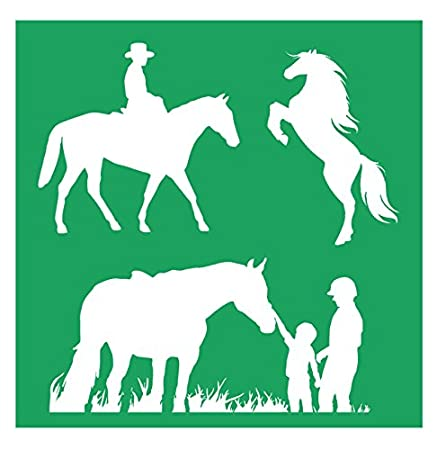 2 20-by-20-inch Sheet - Detailed Horses /& Horse Riding Stencil Set Piece Kit Auto Vynamics STENCIL-HORSESET01-20 Featuring Several Different Horse /& Rider Designs! Pair of Sheets