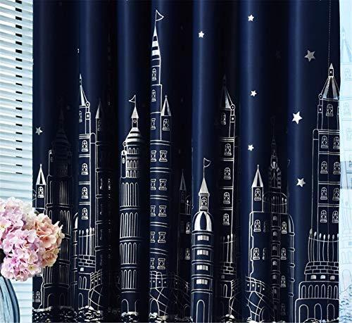 (Curtain Living Room Children Bedroom Cartoon Sea Castle Printed Voile Kids Curtains Cloth Tulle W 150cmxH 250cm Hooks top)