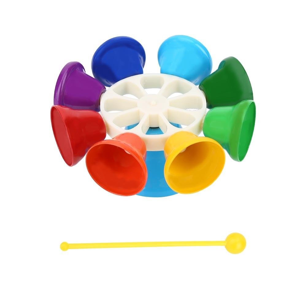 VGEBY 8-Note Hand Bells Set, Hand Percussion Musical Educational Instrument Toy for Kids