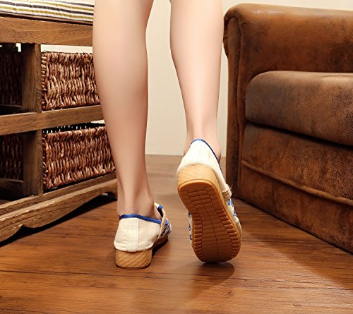 a ricamate donna amp;QING blue moda scarpe all'interno suola dell'aumento comodo tendina da new casual etnico stile Scarpe LTQ wqgSX1tw
