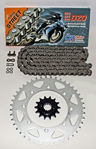 2014 O-ring Chain - CZ DZO O-Ring Chain & Silver Sprocket 90-2014 Kawasaki KLR650 KLR 650 14/43 114L