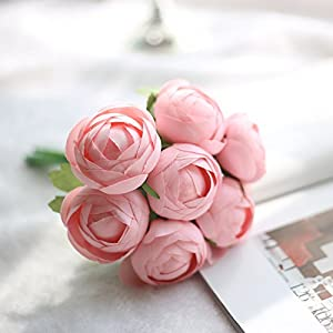 Big-Deal_Silk Flowers for Crafting Artificial Lotus Flower Bouquet Flower Decorative Simulation Flower for Wedding Birthday Decoration - (Color:3) 35