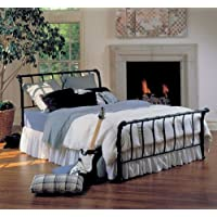 Hillsdale Furniture 1655BQR Janis Metal Sleigh Bed Set with Rails, Queen, Textured Black