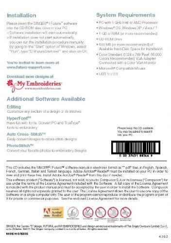 [해외]XL-400 용 SINGER Futura AutoPunch 소프트웨어/SINGER Futura AutoPunch Software for XL-400