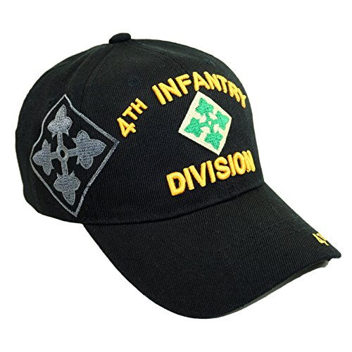 U.S. Military Official Licensed Embroidery Hat Army Navy Veteran Baseball Cap (4TH Infantry Division-Black) ()