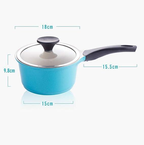 Batería de cocina 18 Cm Leche De Cerámica Olla Antiadherente Olla Complemento De Comida Para Bebés Cocina De Inducción Estufa De Gas De Uso General (color : Azul): Amazon.es: Hogar