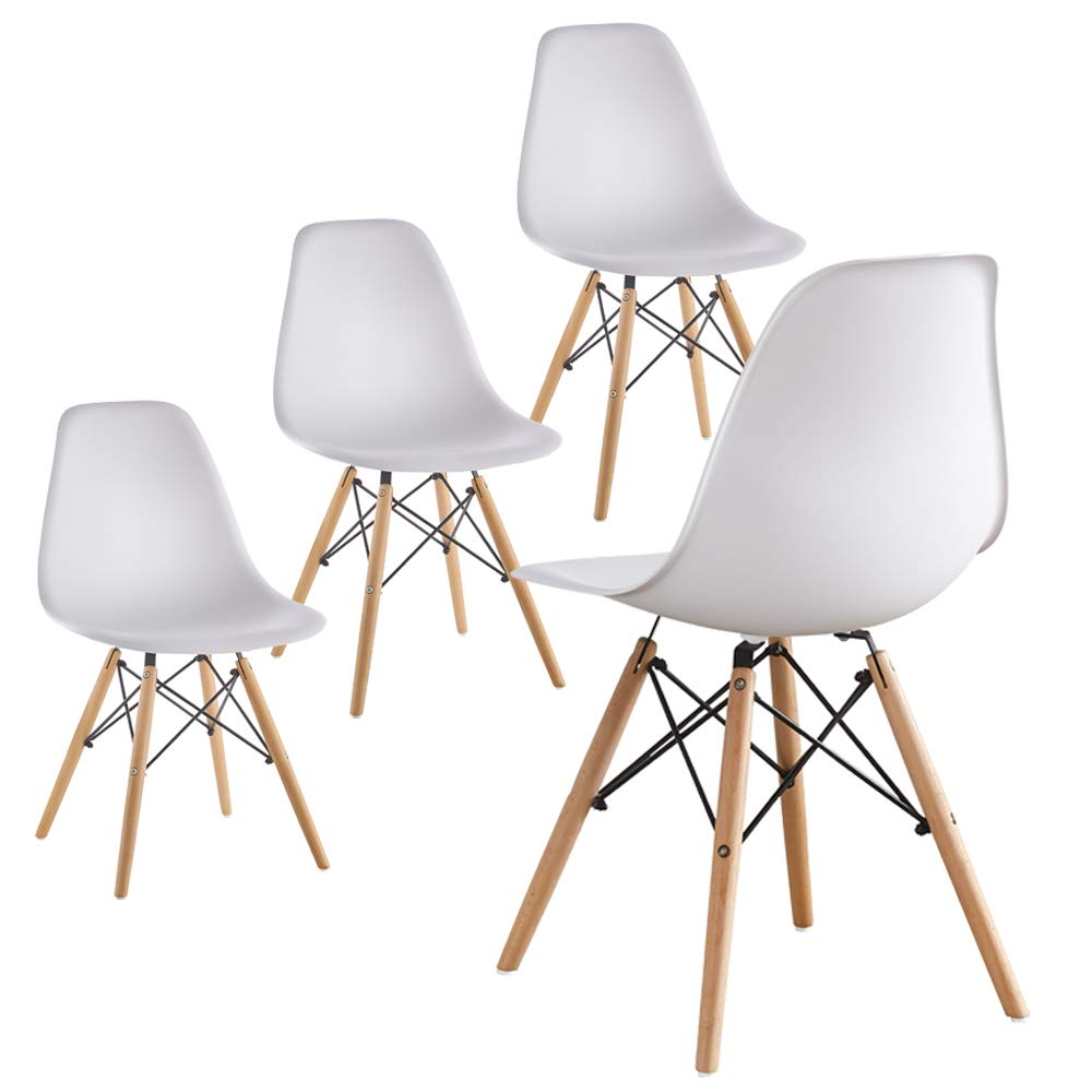 Mid Century Modern Eames Style White armless Plastic Chair Side Chair with Beech Wood Leg for Kitchen, Office Dining, Coffee Shop,Living Room to Easy Assemble and Clean White 071PP 4pcs