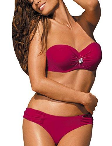 Marko Janet M-349 Bikini-Set Für Damen, Versteifte Cups, Gerafft, Seitenstäbchen, Abnehmbare Träger, Top Qualität, EU, purpurrot,M
