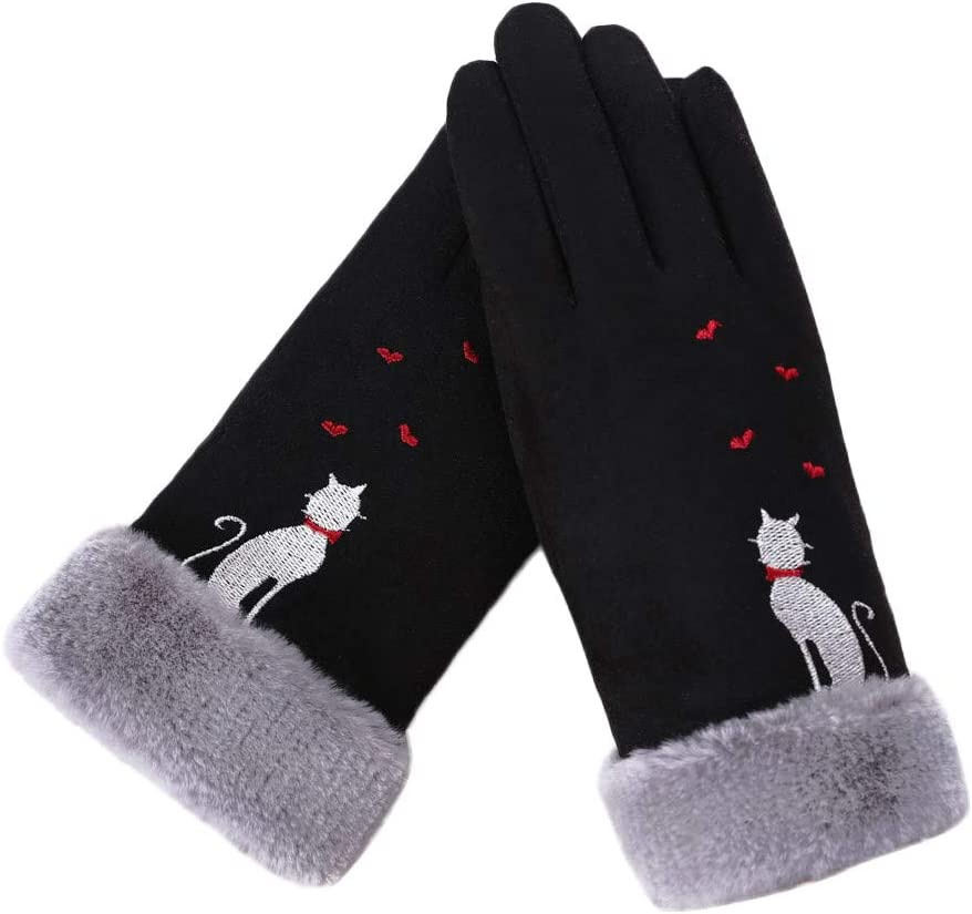 Womens Winter Gloves Khaki FunDiscount Cute Cat Love Heart Gloves Faux Fur Fleece Lining Thermal Cozy Thick Gloves Novelty Cold Weather Accessories Mittens Gauntlet